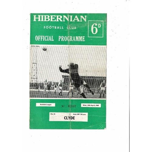 1967/68 Hibernian v Clyde Football Programme