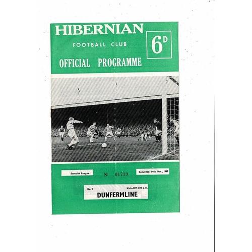 1967/68 Hibernian v Dunfermline Football Programme
