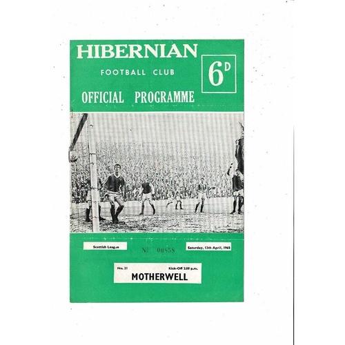 1967/68 Hibernian v Motherwell Football Programme