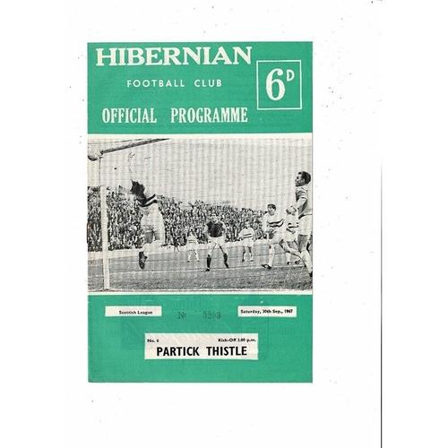 1967/68 Hibernian v Partick Thistle Football Programme