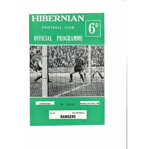 1967/68 Hibernian v Rangers Football Programme