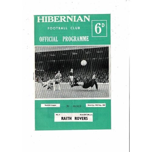 1967/68 Hibernian v Raith Rovers Football Programme