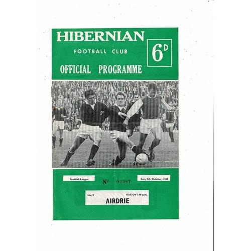 1968/69 Hibernian v Airdrie Football Programme