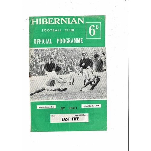 1968/69 Hibernian v East Fife League Cup Football Programme