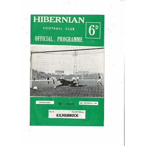 1968/69 Hibernian v Kilmarnock Football Programme