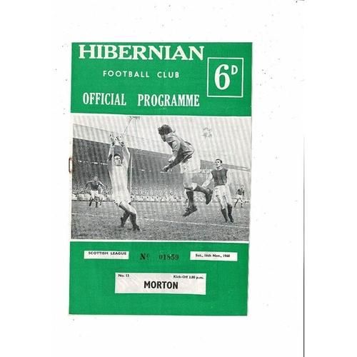 1968/69 Hibernian v Morton Football Programme
