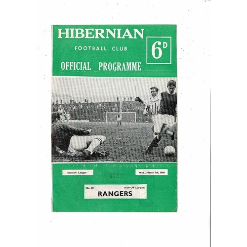 1968/69 Hibernian v Rangers Football Programme