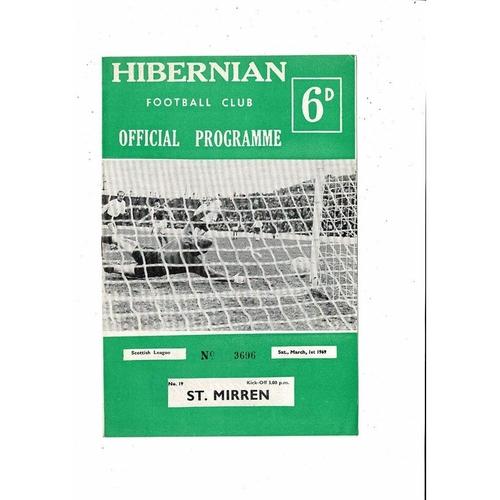 1968/69 Hibernian v St Mirren Football Programme