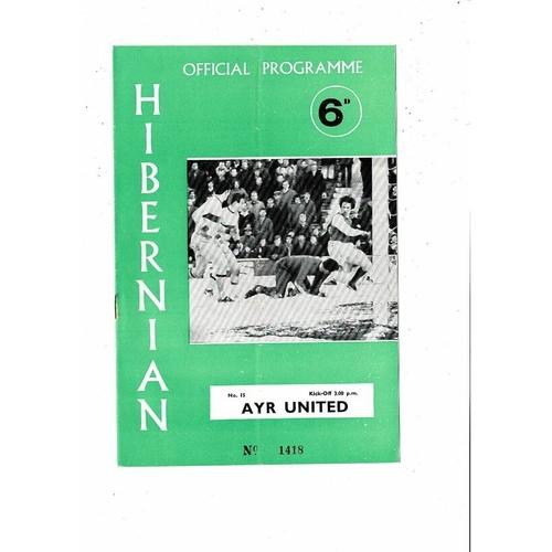 1969/70 Hibernian v Ayr United Football Programme