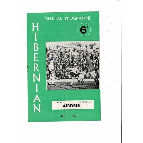 1969/70 Hibernian v Airdrie Football Programme
