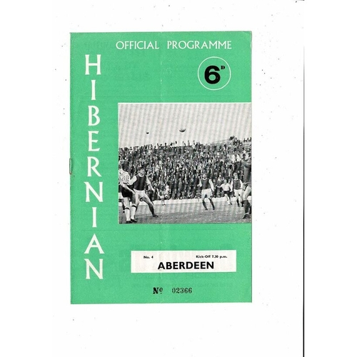 1969/70 Hibernian v Aberdeen League Cup Football Programme
