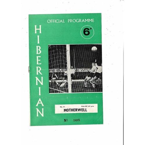 1969/70 Hibernian v Motherwell Football Programme
