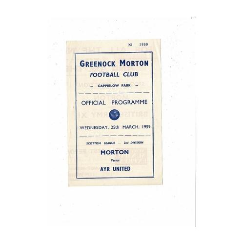 1958/59 Morton v Ayr United Football Programme