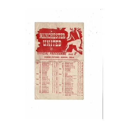 1945/46 Manchester United v Burnley Lancashire Cup Final Football Programme