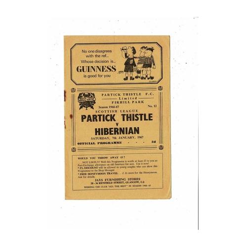 1966/67 Partick Thistle v Hibernian Football Programme