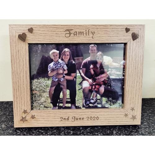"""Wooden Photo Frame Engraved takes 5x7"""" print"""