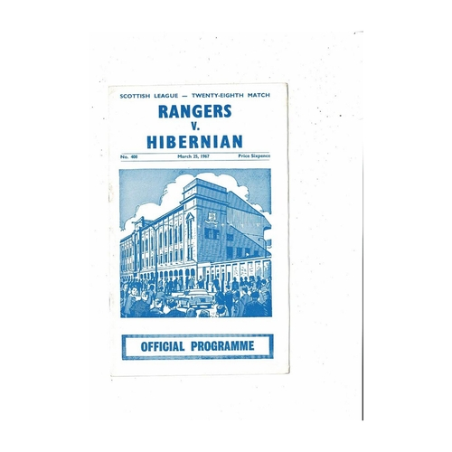 1966/67 Rangers v Hibernian Football Programme