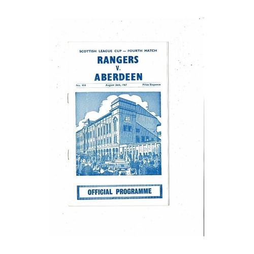 1967/68 Rangers v Aberdeen League Cup Football Programme