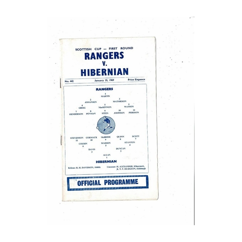 1968/69 Rangers v Hibernian Scottish Cup Football Programme