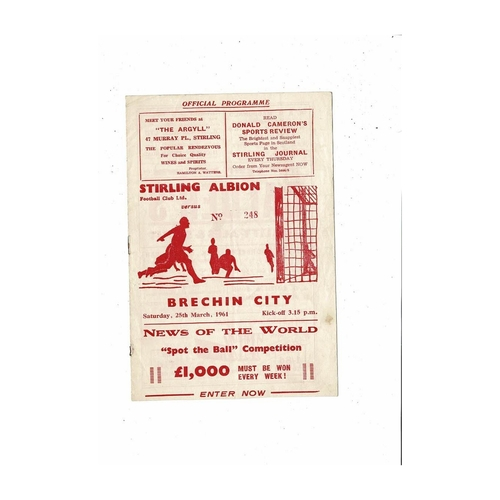 1960/61 Stirling Albion v Brechin City Football Programme