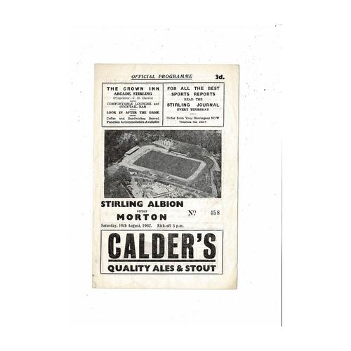 1962/63 Stirling Albion v Morton Scottish League Cup Football Programme