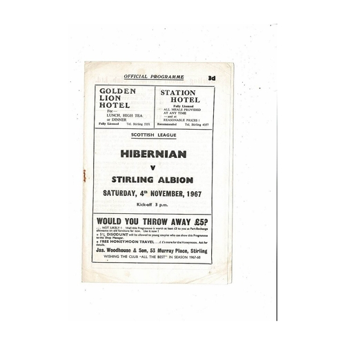 1967/68 Stirling Albion v Hibernian Football Programme