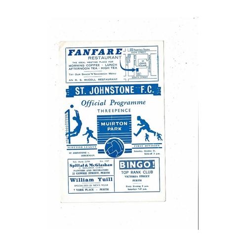 1967/68 St Johnstone v Hibernian Football Programme