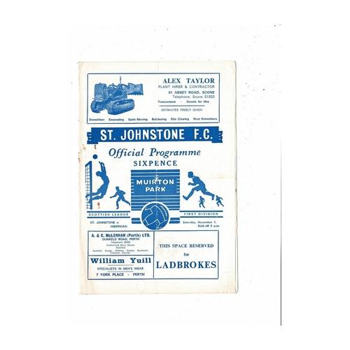 1969/70 St Johnstone v Hibernian Football Programme