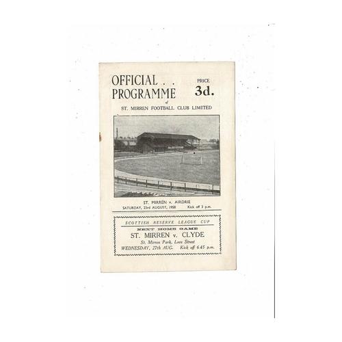 1958/59 St Mirren v Airdrie League Cup Football Programme