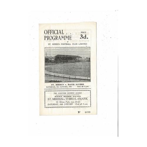1960/61 St Mirren v Raith Rovers Football Programme