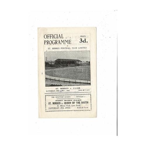 1962/63 St Mirren v Clyde Football Programme