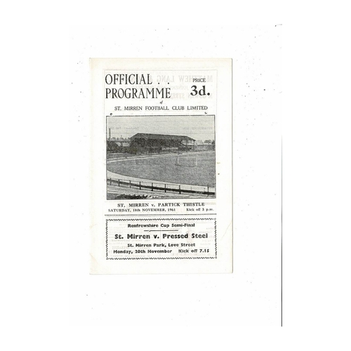 1961/62 St Mirren v Partick Thistle Football Programme