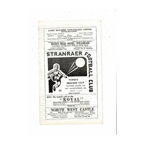 1966/67 Stranraer v Brechin City League Cup Football Programme