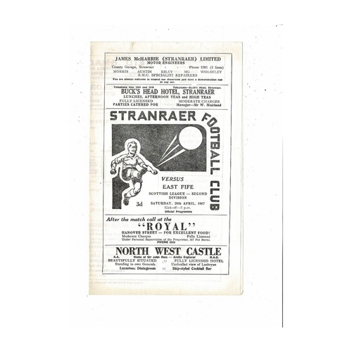 1966/67 Stranraer v East Fife Football Programme 1966/67
