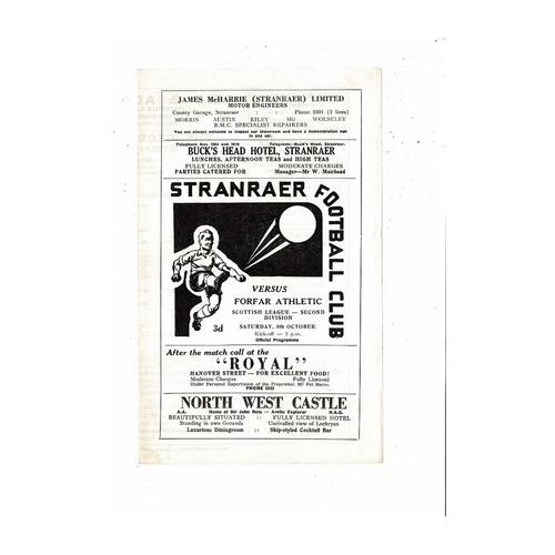 1966/67 Stranraer v Forfar Football Programme