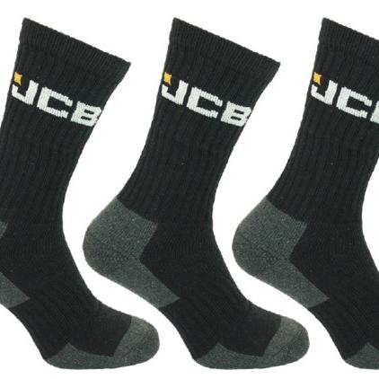 3pk Mens JCB Wool Blend Work Socks Black EXTRA WARMTH - Size 6-11 UK - JCB Socks
