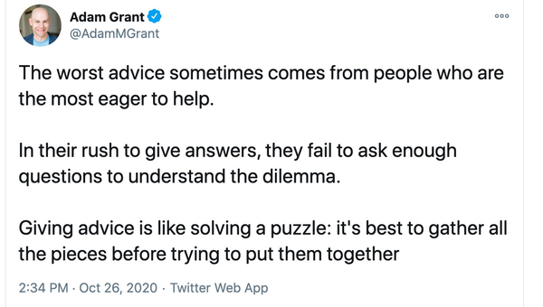 Giving Advice is Like Solving a Puzzle
