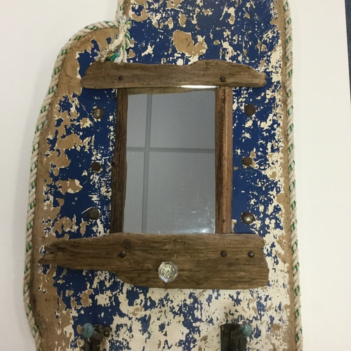 Blue Driftwood Hallway Mirror and Coat Rack.
