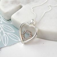 Silver Plated Heart Frame Crystal Circle Necklace