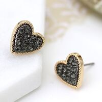 Gold plated heart stud earrings with black crystal