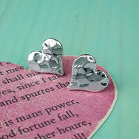 Hammered Heart Stud Earrings