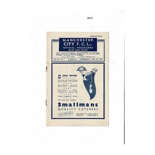 1948/49 Manchester City v Preston Football Programme