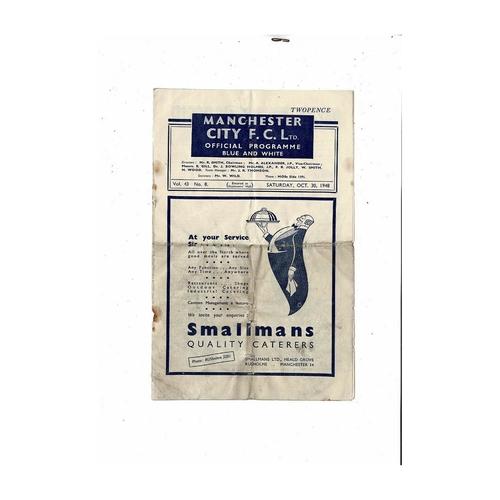 1948/49 Manchester City v Wolves Football Programme