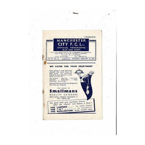 1949/50 Manchester City v Middlesbrough Football Programme.