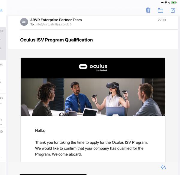 Virtual Villas Acceptance into Oculus ISV Program