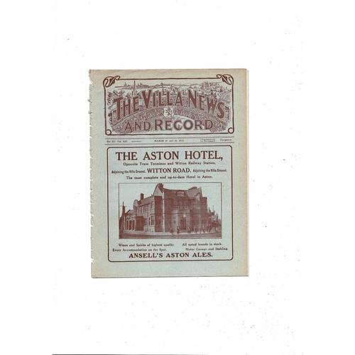 1922/23 Aston Villa v Birmingham City Ex Bound Volume Football Programme