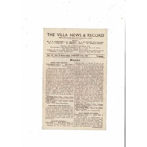 1944/45 Aston Villa v West Bromwich Albion War Cup Football Programme