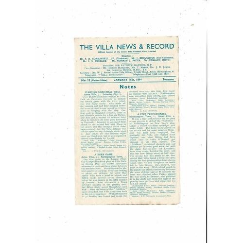 1943/44 Aston Villa v Stoke City War Cup Football Programme