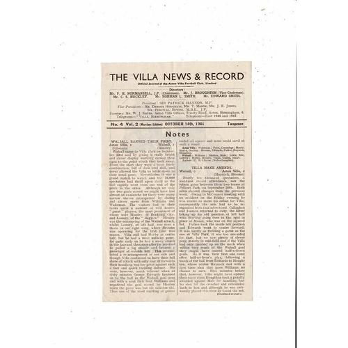 1944/45 Aston Villa v Birmingham City Football Programme Oct.