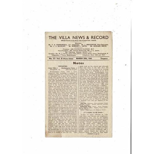 1944/45 Aston Villa v Birmingham City Football Programme March